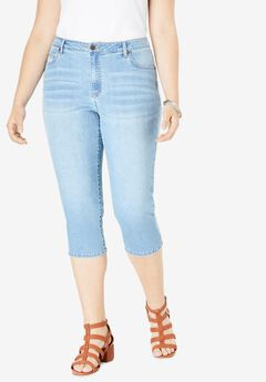 Denim Capri with Invisible Stretch® by Denim 24/7®, LIGHT STONEWASH
