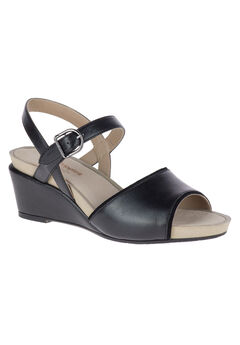 Cassale Qtr Strap Sandal by Hush Puppies®, BLACK LEATHER, hi-res