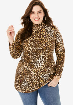Mockneck Ultimate Tunic, BROWN CLASSIC ANIMAL PRINT