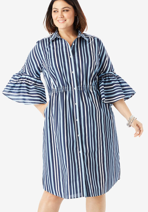 Bell-Sleeve Shirtdress with Button Front