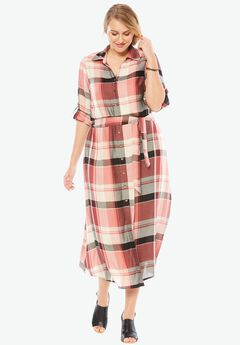 Maxi Dress, BURGUNDY PLAID, hi-res