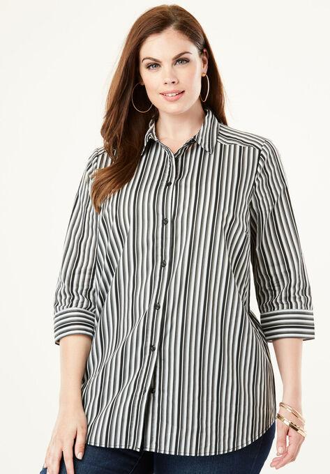 Three Quarter Sleeve Kate Shirt Plus Size Shirts Blouses Roamans