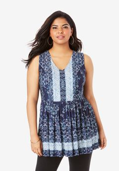 Fit-And-Flare Sleeveless Tunic,