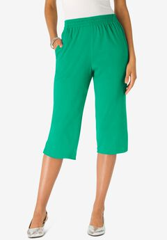 Soft Knit Capri Pant, TROPICAL EMERALD