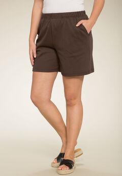 Soft Knit Shorts, CHOCOLATE