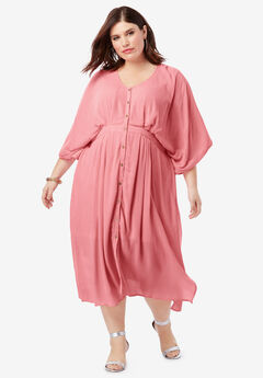 Crinkle Button-Front Dress with Kimono Sleeves,