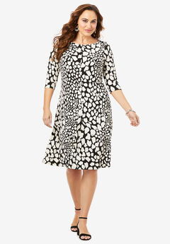 Boatneck Swing Drape Dress with Three-Quarter Sleeves, SPOTTY ANIMAL