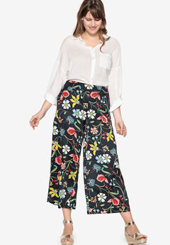 Cropped Wide-Leg Satin Pants by Castaluna,