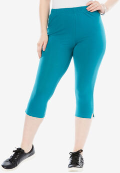 Stretch Capri Leggings, TROPICAL TEAL, hi-res