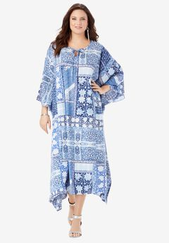 Georgette Caftan Dress with Kimono Sleeves, NAVY MULTI FLORAL