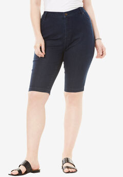 Bermuda Shorts with Invisible Stretch® Waistband by Denim 24/7®, INDIGO, hi-res