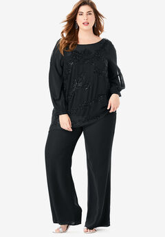 Beaded Illusion-Sleeve Top, BLACK