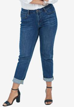 Boyfriend Jeans by Denim 24/7®, DARK WASH, hi-res