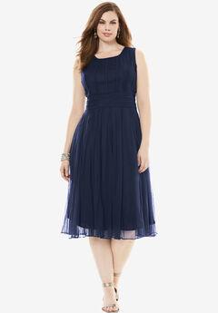 Mesh Dress, NAVY, hi-res
