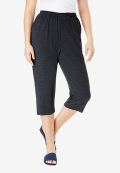 Soft Knit Capri Pant, HEATHER CHARCOAL