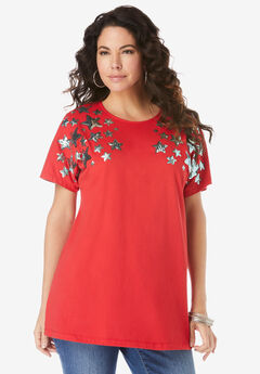 Embellished Tunic with Side Slits, VIVID RED SEQUIN STARS