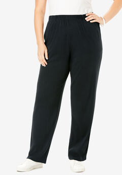Straight-Leg Soft Knit Pant, BLACK