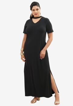 Banded Neck Dress, BLACK, hi-res