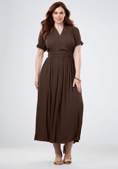 Wrap Maxi Dress in Crinkle, CHOCOLATE