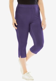 Stretch Capri Leggings, MIDNIGHT VIOLET
