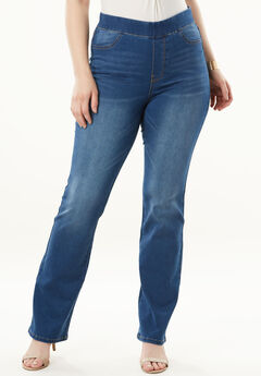 The No-Gap Slim Bootcut Jean by Denim 24/7®, MEDIUM STONEWASH