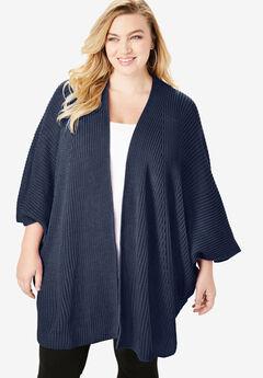 Ribbed Kimono Cardigan, NAVY