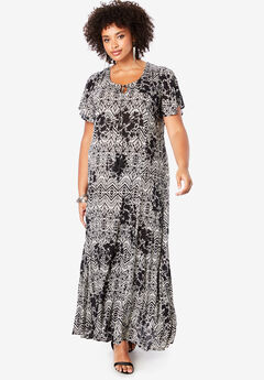 Crinkle Flare-Sleeve Maxi Dress, BLACK GEO FLORAL
