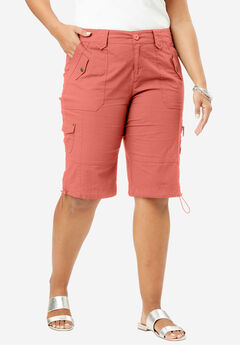 Cargo Shorts with Adjustable Bungee Hem, DUSTY CORAL, hi-res