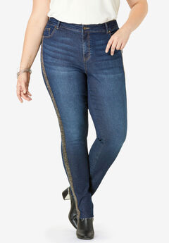 Beaded Stripe Jean by Denim 24/7®, DARK WASH