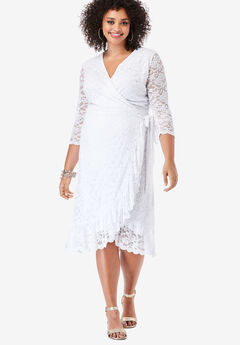 Lace Midi Wrap Dress, WHITE