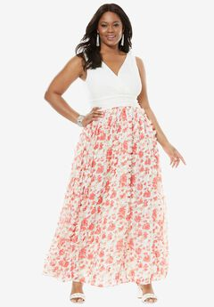 Floral Maxi Dress, PINK FLORAL, hi-res