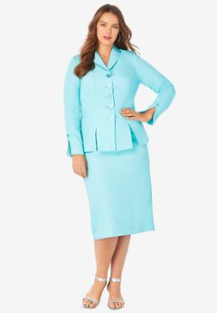 Two-Piece Skirt Suit with Shawl-Collar Jacket, LIGHT AQUA
