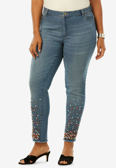 Fringe Embellished Skinny Jean by Denim 24/7®, MULTI EMBELLISHMENTS