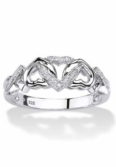 Platinum & Silver Promise Ring with Diamond-Accent,