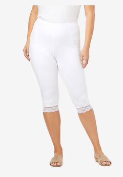 Lace-Trim Essential Stretch Capri Legging, WHITE