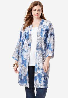 Printed Kimono Jacket, PAISLEY PRINT