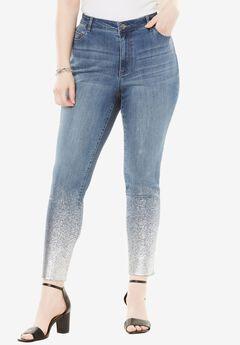 Foil Print Skinny Jean, SILVER, hi-res
