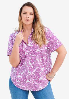 Short-Sleeve Kate Big Shirt, WHITE PURPLE PAISLEY