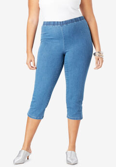 Pull-On Stretch Denim Capri Jean by Denim 24/7®, LIGHT STONEWASH