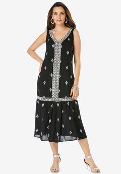Embroidered Sleeveless Midi Dress,