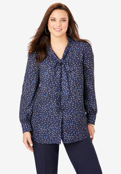 Tie-Neck Blouse, NAVY ABSTRACT DOT