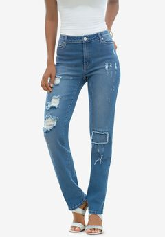 Distressed Jean with Invisible Stretch® by Denim 24/7®, MEDIUM WASH