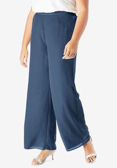 Georgette Wide-Leg Dress Pant, NAVY