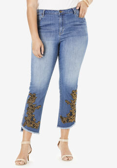 Embellished Tulip-Hem Jean By Denim 24/7®, BRONZE FLORAL EMBELLISHMENTS