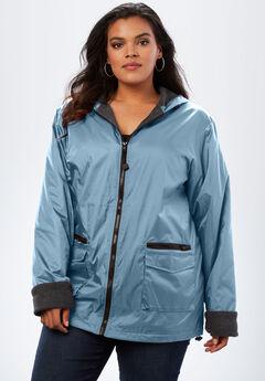 Hooded Jacket with Fleece Lining, BLUE LAKE
