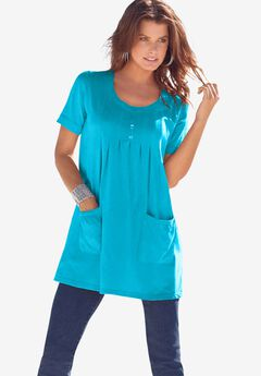 Two-Pocket Soft Knit Tunic, OCEAN