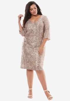 Sequin Shift Dress by Alex Evenings, TAUPE, hi-res