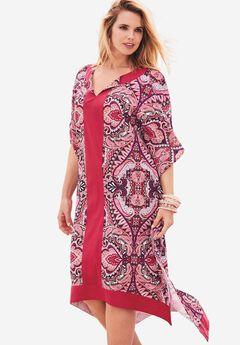 High-Low Geo Dress, RUBY ROSE SCARF PRINT, hi-res