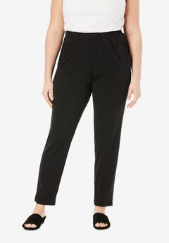 Ankle-Length Soft Knit Pant, BLACK