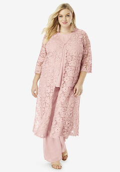 Three-Piece Lace Duster & Pant Set, PALE BLUSH
